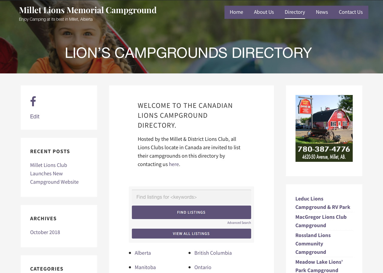 Millet Lions & District Campground Directory